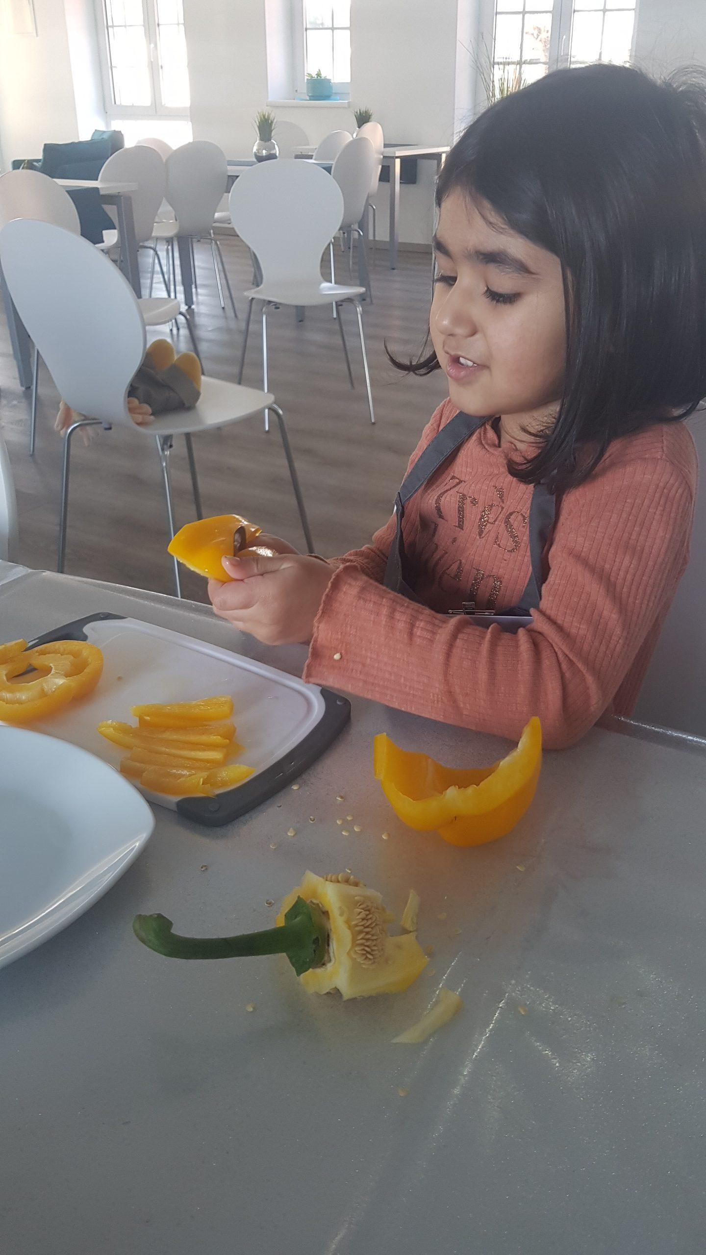 Spaß beim Paprika schnippeln